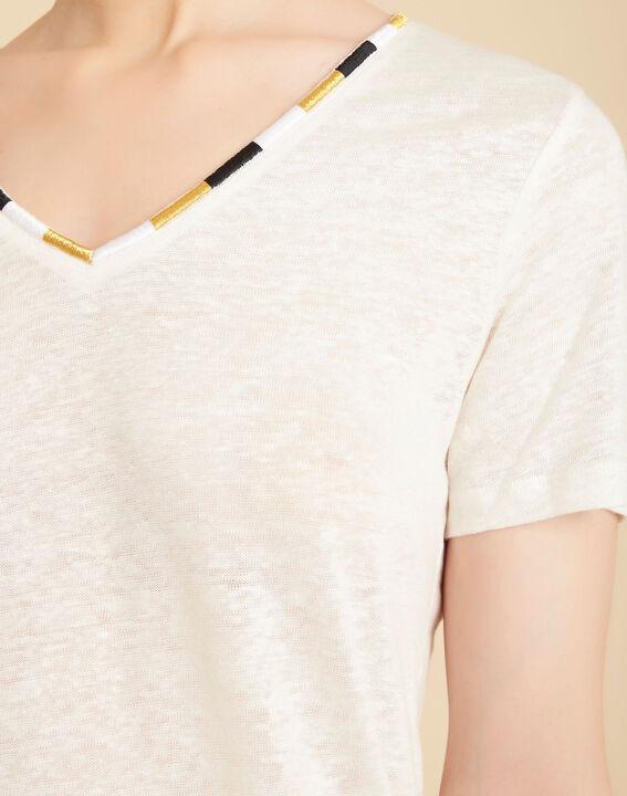 Elin ecru linen T-shirt with decorative neckline PhotoZ   1-2-3