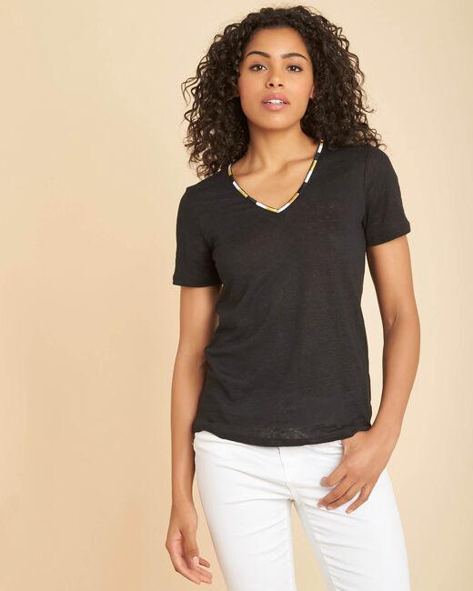 Tee-shirt noir en lin col fantaisie Elin (2) - 1-2-3