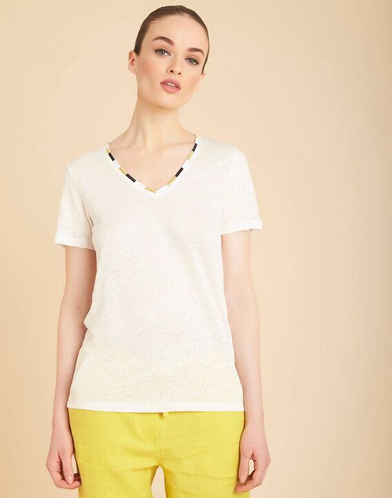 Elin ecru linen T-shirt with decorative neckline (3) - 1-2-3