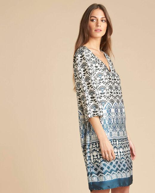 Robe bleue imprimée Passiflore (2) - 1-2-3