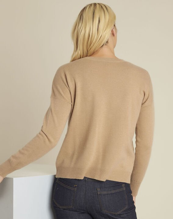 Baltic camel wool cashmere pullover with faux leather pocket (4) - 1-2-3
