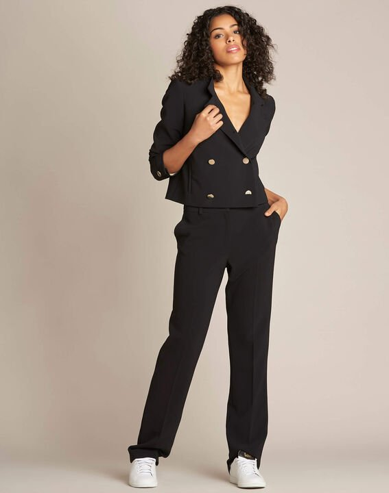 Citron double-breasted cropped black jacket (3) - 1-2-3