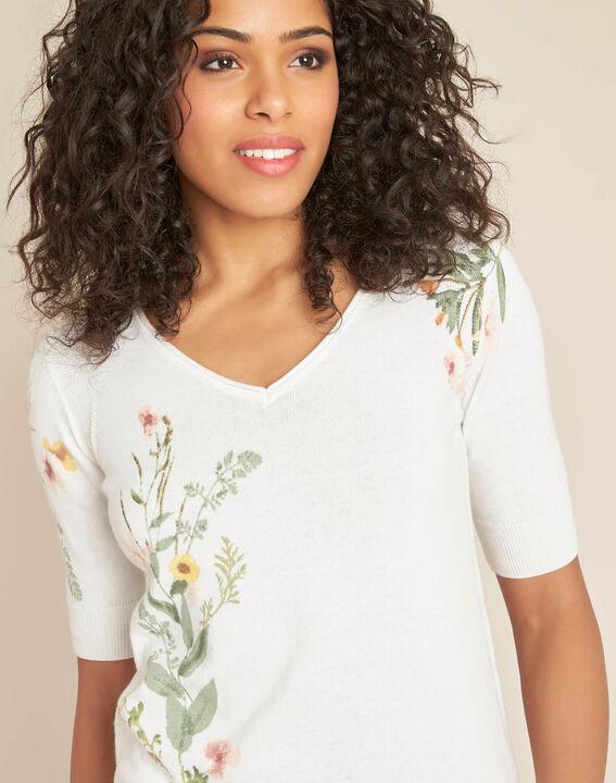 Pull blanc imprimé fleuri Nouette PhotoZ | 1-2-3