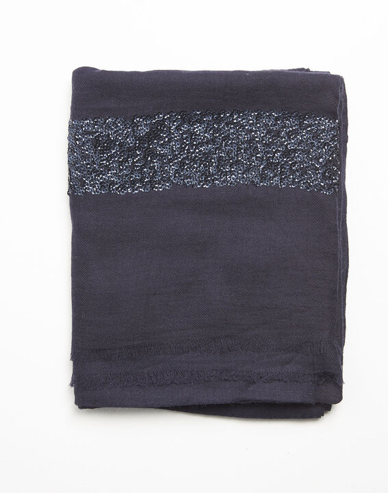 Fiona navy blue wool blend scarf with sequins PhotoZ | 1-2-3