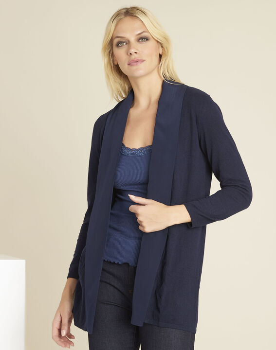 Brouillard navy blue cardigan in cotton and cashmere with cowl neckline (1) - 1-2-3