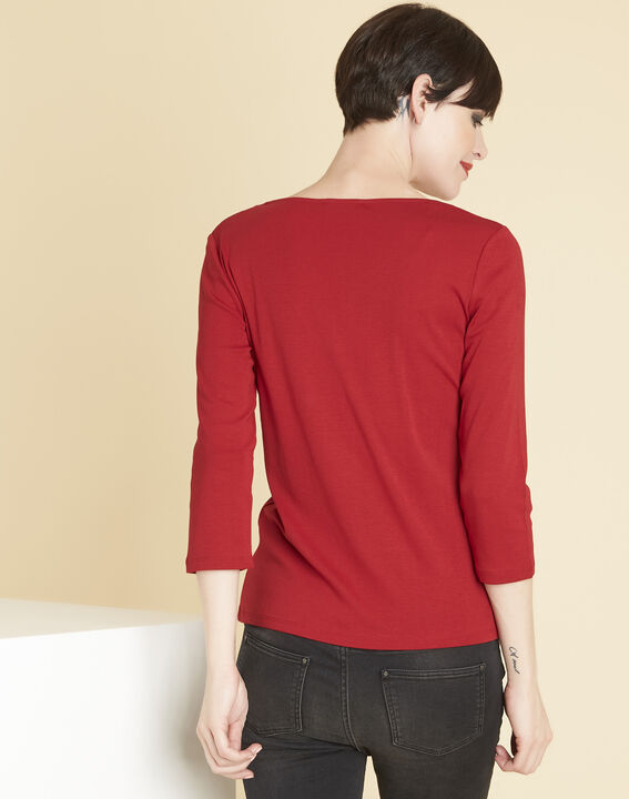 Tee-shirt rouge encolure oeillets Basic (4) - 1-2-3