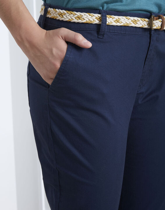 Marineblaue Chinohose mit modischem Gürtel Francis (3) - Maison 123