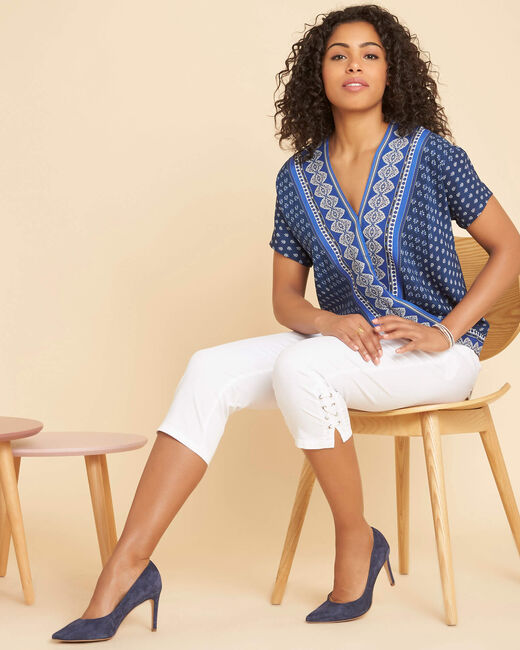 Galix blue printed top with crossover neckline (2) - 1-2-3