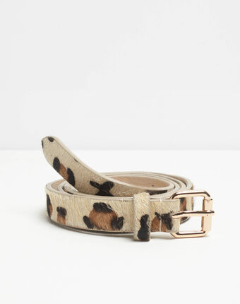 Romel leopard design beige leather belt beige.