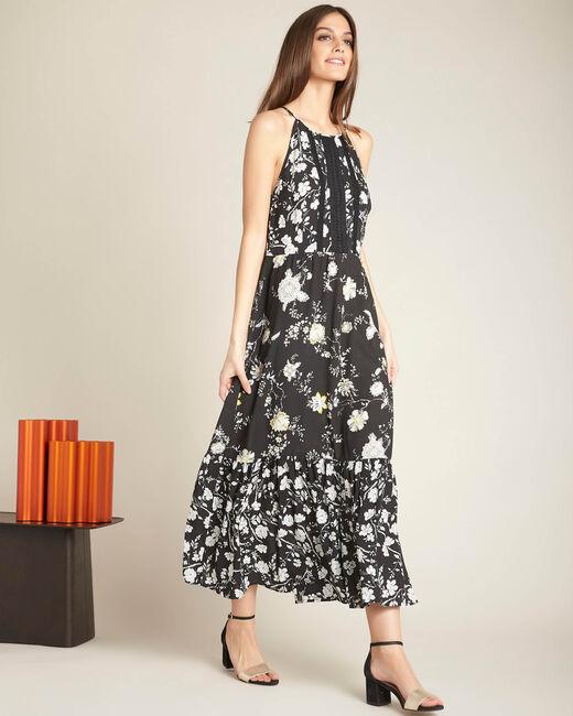 Robe noire longue imprimé fleuri Idole (2) - 1-2-3