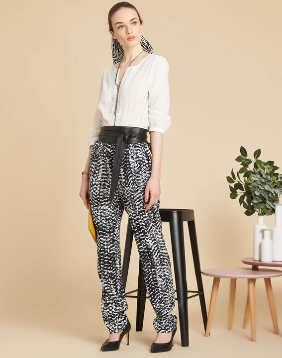 Pantalon noir & blanc imprimé Samy (2) - 1-2-3