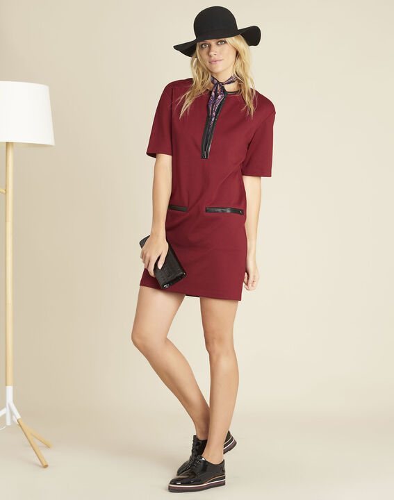 Douce red Milano dress with faux leather details (3) - 1-2-3