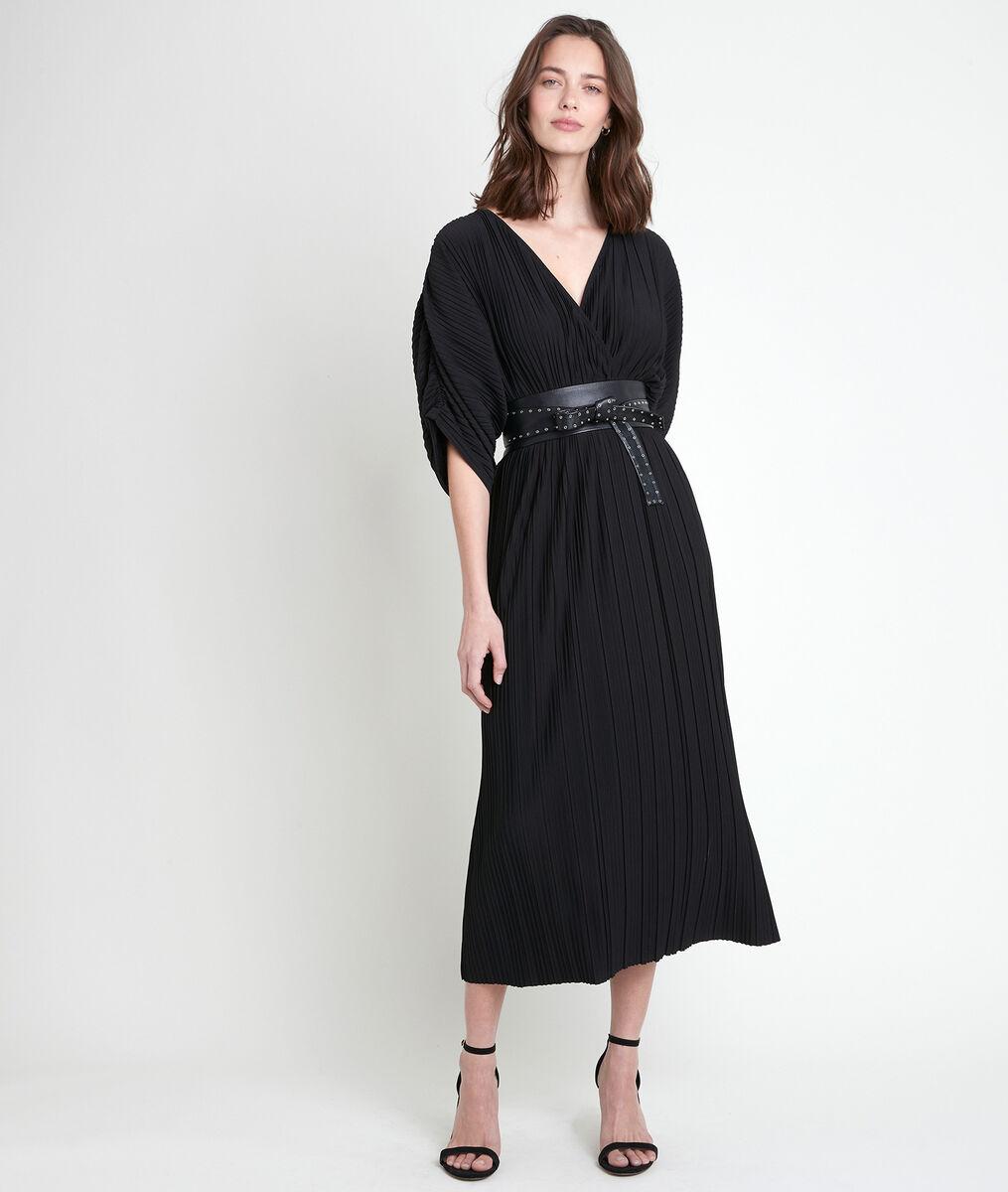Robe longue noire plissée Melissa PhotoZ | 1-2-3