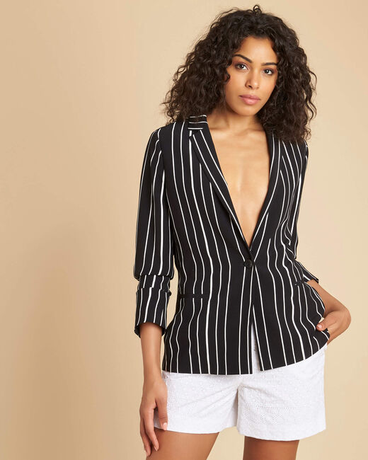 Charlie black striped fitted jacket (2) - 1-2-3