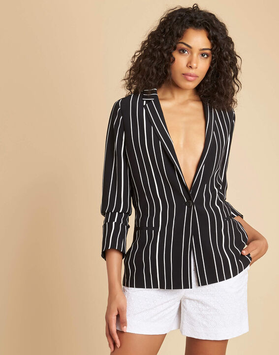 Charlie black striped fitted jacket (3) - 1-2-3