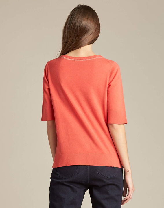 Nevada coral short-sleeved sweater in wool and silk (4) - 1-2-3