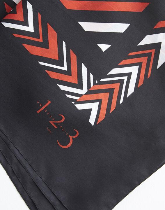 Oranje vierkante sjaal van zijde met grafische print Amadeus (2) - 37653