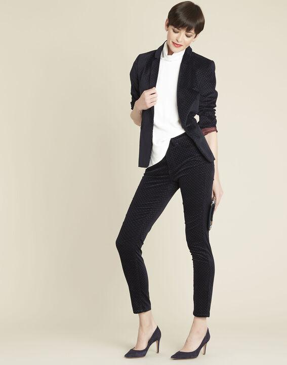 Marineblaue Slim Jeans aus Samt mit Pünktchen Vendome (2) - 1-2-3