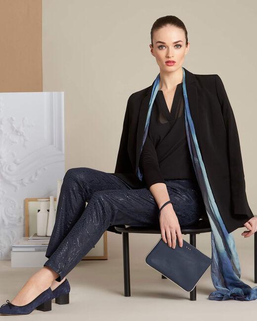 Marineblaue beschichtete Jeans mit Snake-Print Vendome (2) - 1-2-3