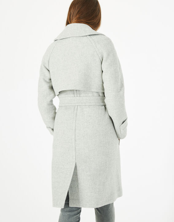 Manteau gris long façon trench Joy (5) - 1-2-3