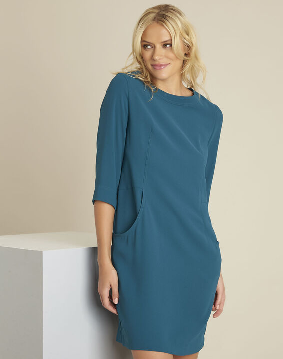 Douda green crepe dress with pockets PhotoZ | 1-2-3