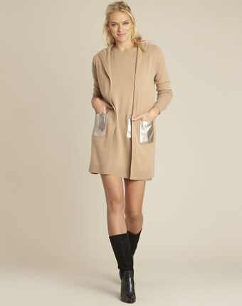 Banquise camel hooded wool cashmere cardigan buttercup.