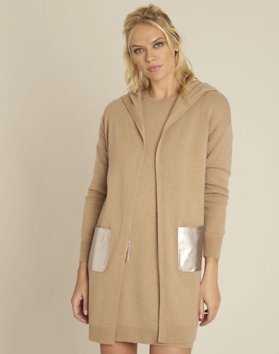 Banquise camel hooded wool cashmere cardigan PhotoZ | 1-2-3