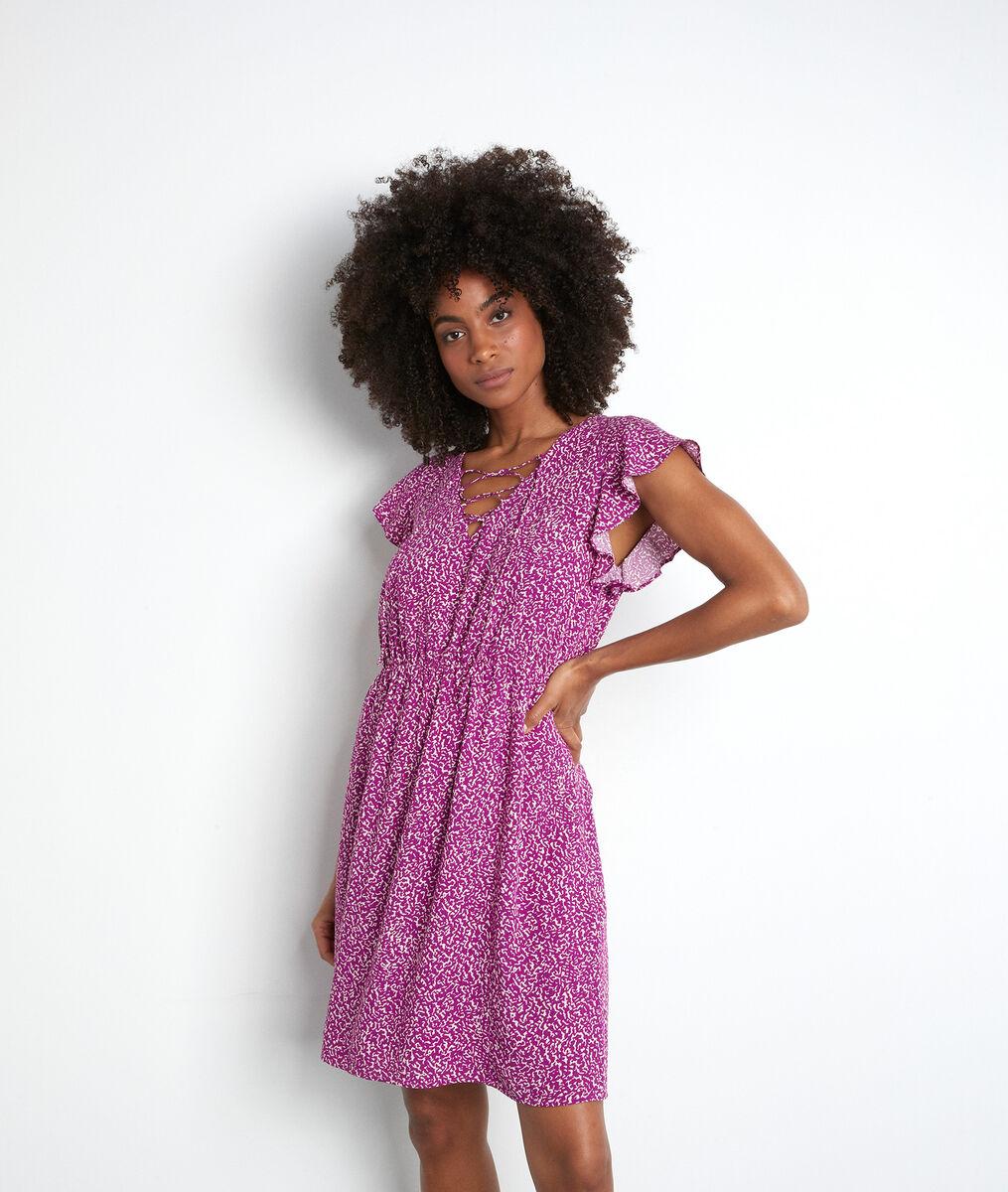 Fuchsia soepele en korte jurk met print Selma PhotoZ | 1-2-3
