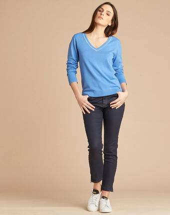 Newyork blue sweater in wool and silk with shiny neckline mid blue.