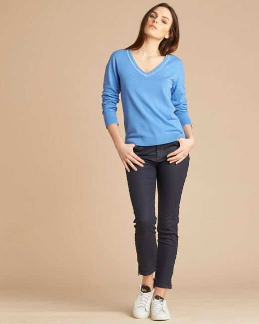 Newyork blue sweater in wool and silk with shiny neckline (1) - 1-2-3
