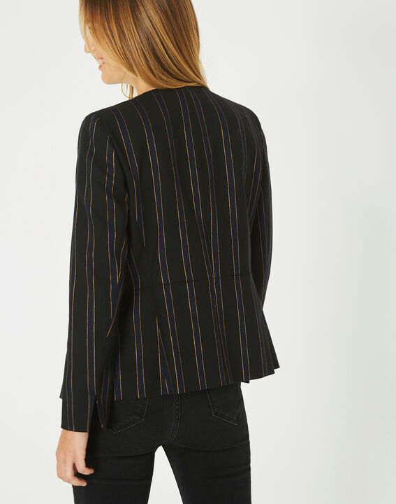 Maud navy blue and black striped tailored jacket (4) - 1-2-3