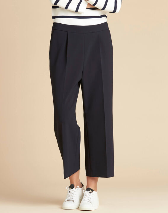 Vada wide-cut navy blue trousers with crease (4) - 1-2-3