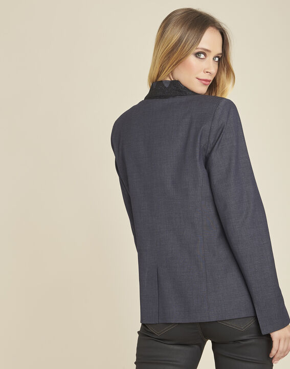 Demoiselle fitted jacket in anthracite grey with embroidery (4) - 1-2-3