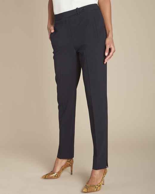 Lara navy slim-cut microfibre trousers (1) - 1-2-3