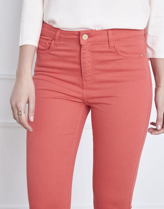 Korallenrote 7/8-Jeans Slim Fit Baumwollsatin Vendome (3) - Maison 123