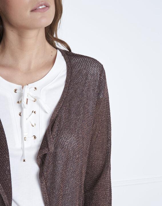 Braune Jacke aus metallisierter Viskose Noisette (3) - Maison 123