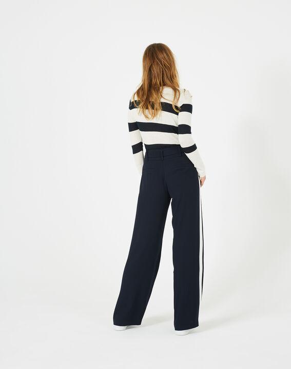 Pantalon bleu marine fluide bande côté Kamelia (5) - 1-2-3