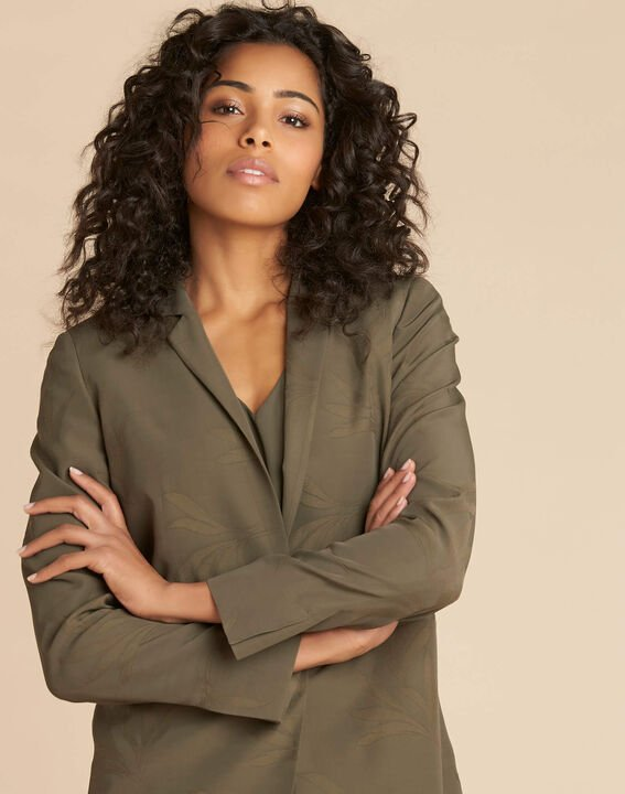 Veste tailleur kaki effet Jacquard Demoiselle (1) - 1-2-3