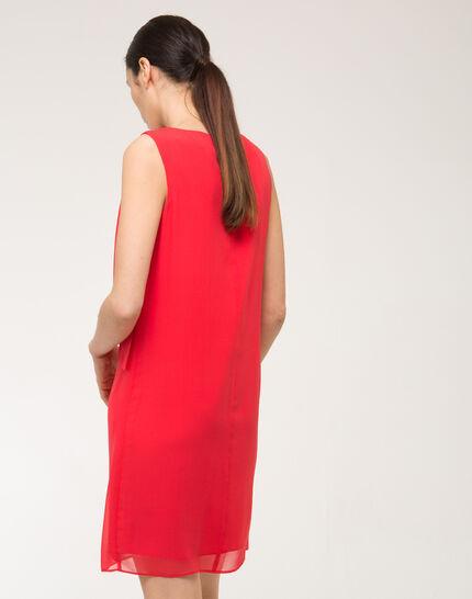 Orangerotes Seitenkleid mit Schleife an der Schulter Fanny (4) - 1-2-3