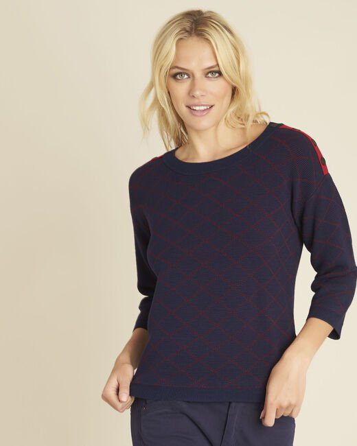 Bridge navy check sweater with buttons on the shoulders (2) - 1-2-3