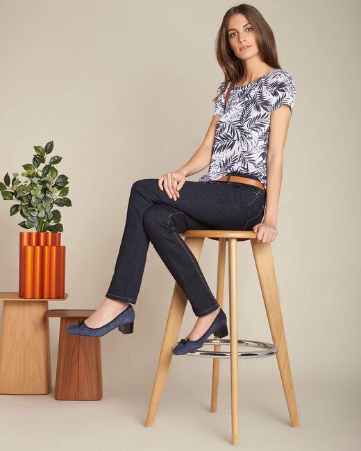 Marineblaue gerade Jeans normale Leibhöhe Vivienne (1) - 1-2-3
