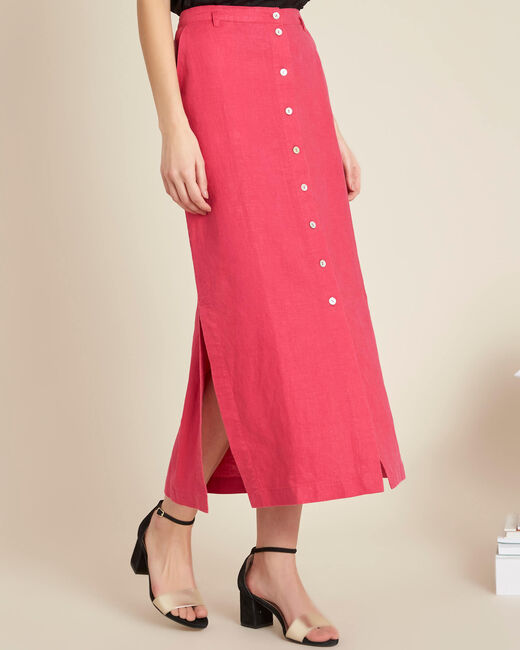Lunis long fuchsia skirt in linen with buttons (2) - 1-2-3