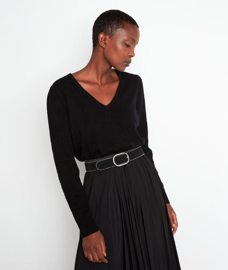 Pull en laine recyclée et cachemire noir Tilda PhotoZ | 1-2-3