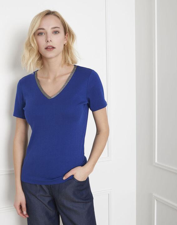 Blaues T-Shirt mit Lurex-Ausschnitt Etincelante (2) - Maison 123