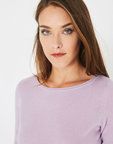 Petunia mauve cashmere sweater with round neck (3) - 1-2-3