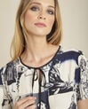 Clavier white printed blouse with tie (3) - 1-2-3