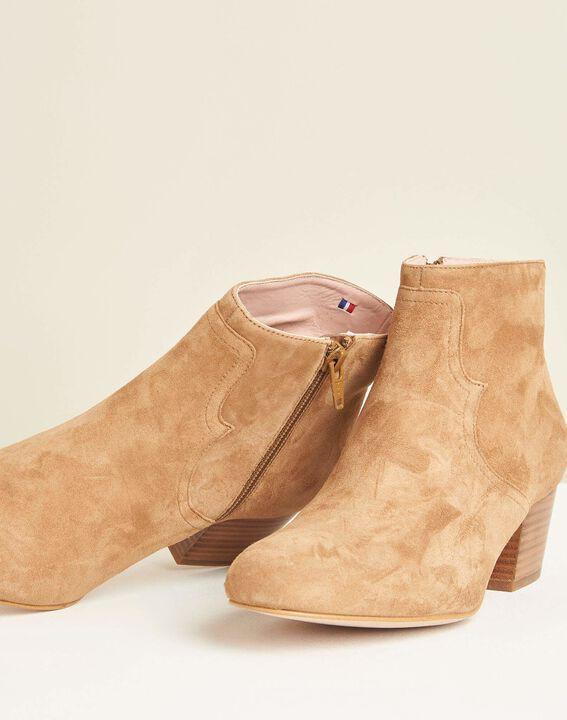 Kendal dual-fabric camel heeled boots (2) - Maison 123