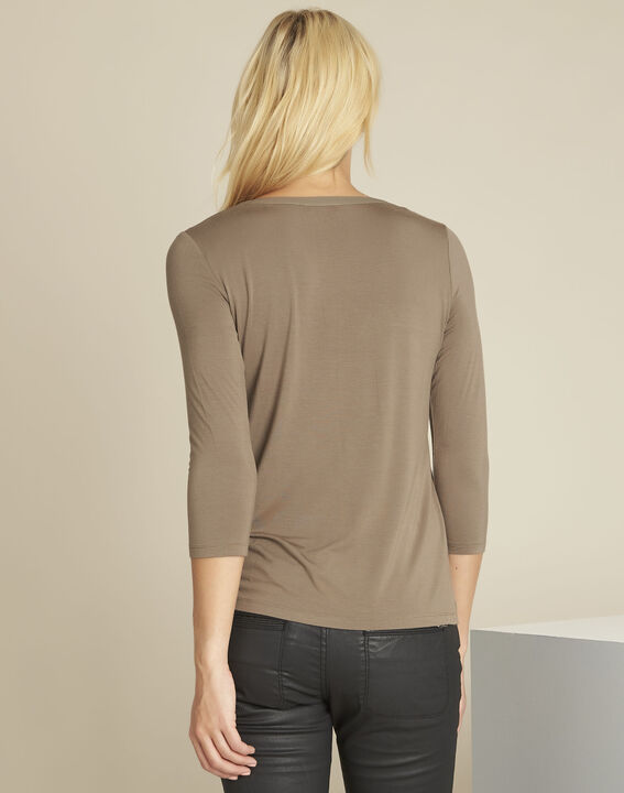 Blanca khaki blouse with netting along its V-neck (4) - 1-2-3