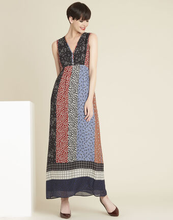 Dotty long floral printed dress multicolour.