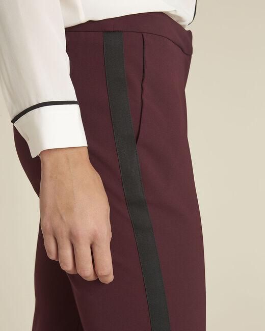 Pantalon bordeaux et sa bande latérale microfibre Suzanne (2) - 1-2-3